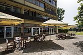 Terrace of Hotel Familia in Balatonboglar looking onto the lake