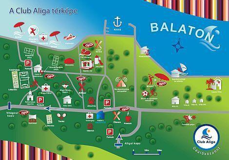 club aliga térkép Hotel Club Aliga Balatonvilagos   the map of the holiday complex