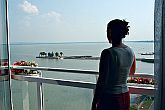 Panorama of Lake Balaton from the terrace of the Helikon Hotel